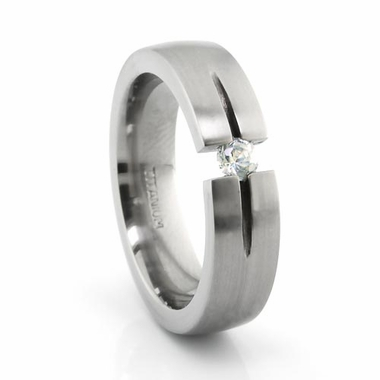 Edward Mirell Tension Set  Diamond 6mm Titanium Ring 0.16ctw