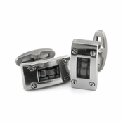 <b>Edward Mirell Texture Collection:</b></br>Titanium and Black Leather Cufflinks