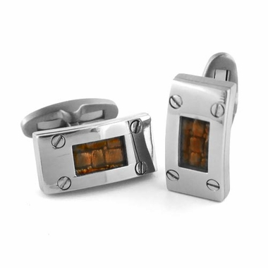 <b>Edward Mirell Texture Collection:</b></br>Titanium and Brown Leather Cufflinks