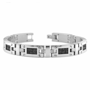 <b>Edward Mirell Texture Collection:</b><br> Gray Titanium Bracelet with Screws and Black Leather Inlay