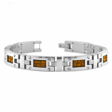 <b>Edward Mirell Texture Collection:</b><br> Gray Titanium Bracelet with Screws and Brown Leather Inlay