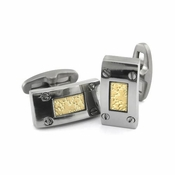 Edward Mirell Texture Titanium and 18K Yellow Gold Cufflinks