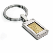 Edward Mirell Texture Titanium and 18K Yellow Gold Key Ring