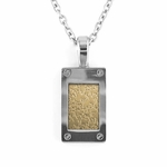 Edward Mirell Texture Titanium and 18K Yellow Gold Pendant Necklace