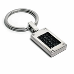 Edward Mirell Texture Titanium and Black Leather Key Ring