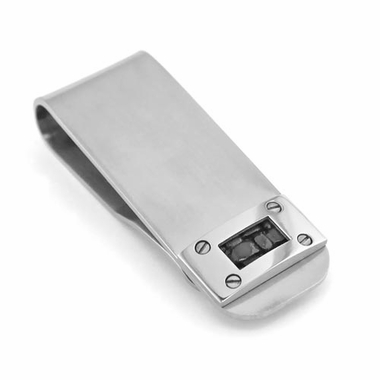 <b>Edward Mirell Texture Collection:</b><br> Gray Titanium and Black Leather Money Clip