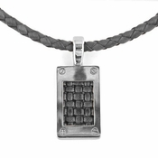 Edward Mirell Texture Titanium and Black Leather Pendant Necklace