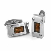 Edward Mirell Texture Titanium and Brown Leather Cufflinks