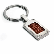 Edward Mirell Texture Titanium and Brown Leather Key Ring