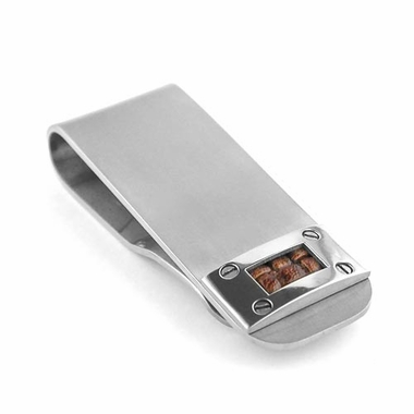 <b>Edward Mirell Texture Collection:</b><br> Gray Titanium and Brown Leather Money Clip