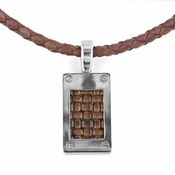 Edward Mirell Texture Titanium and Brown Leather Pendant Necklace