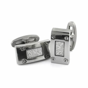Edward Mirell Texture Titanium and Silver Cufflinks