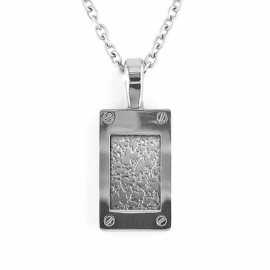Edward Mirell Texture Titanium and Silver Pendant Necklace