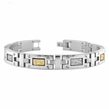 Edward Mirell Texture Titanium Bracelet with 18K Yellow Gold