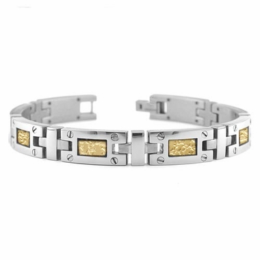 Edward Mirell Texture Titanium Bracelet with Screws and 18K Yellow Gold Inlay