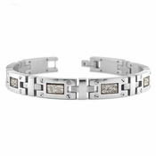 Edward Mirell Texture Titanium Bracelet with Screws and Sterling Silver Inlay
