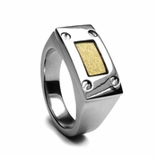 Edward Mirell Texture Titanium Men's Ring with 18K Yellow Gold Inlay