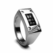Edward Mirell Texture Titanium Men's Ring with Black Leather Inlay