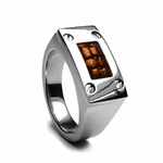 Edward Mirell Texture Titanium Men's Ring with Brown Leather Inlay