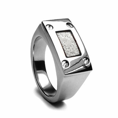 Edward Mirell Texture Titanium Men's Ring with Sterling Silver Inlay