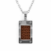 Edward Mirell Texture Titanium Necklace with Brown Leather