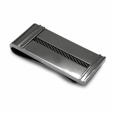 Edward Mirell Titanium and Black Cable Money Clip