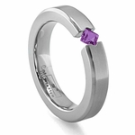 Edward Mirell Titanium and Princess Cut Amethyst Tension Set Ring