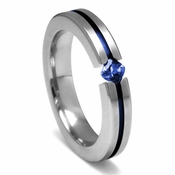 Edward Mirell Titanium and Princess Cut Blue Sapphire Tension Set Ring