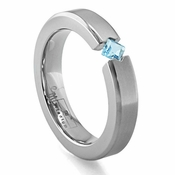 Edward Mirell Titanium and Princess Cut Blue Topaz Tension Set Ring