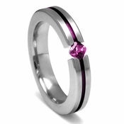 Edward Mirell Titanium and Princess Cut Pink Sapphire Tension Set Ring