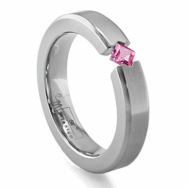 Edward Mirell Titanium and Princess Cut Rhodolite Tension Set Ring