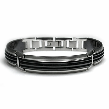 Edward Mirell Trio Black and Gray Titanium Bracelet with Center Ridges and Silver Inlay