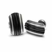 Edward Mirell Trio Black Titanium and Silver Cufflinks