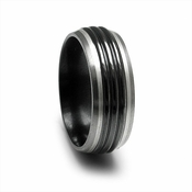 Edward Mirell Trio Black Titanium Band with Center Ridges
