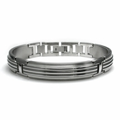 Edward Mirell Trio Gray Titanium Bracelet with Center Ridges and Silver Inlay