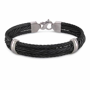 Edward Mirell Triple Black Titanium Cable Bangle Bracelet