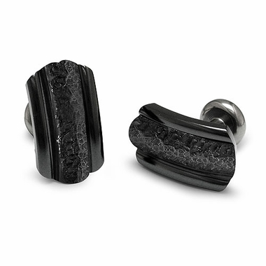Edward Mirell Triple Dome Black Titanium Hammered Center Cufflinks