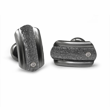Edward Mirell Triple Dome Gray Titanium and Diamonds Cufflinks