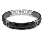 Edward Mirell Triple Dome Hammered Two-Tone Black Titanium Bracelet