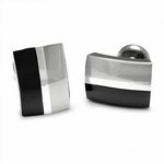 Edward Mirell Tuxedo Black Titanium and Silver Cufflinks