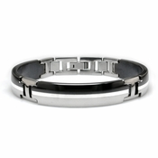 <b>Edward Mirell Tuxedo Collection:</b><br> Black Titanium Bracelet with Silver Inlay