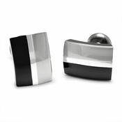 <b>Edward Mirell Tuxedo Collection:</b><br>Black Titanium and Silver Cufflinks