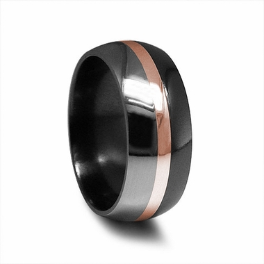 Edward Mirell Tuxedo Two-Tone Black Titanium and Rose Gold Ring