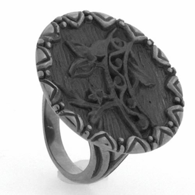 Edward Mirell Victorian 8mm Gray Titanium Flower Bridge Ring