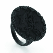 Edward Mirell Victorian Black Titanium Flower Bridge Ring