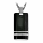 <b>Edward Mirell Wellington Collection :</b><br> Black Titanium and Sterling Silver Pendant Necklace