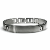 <b>Edward Mirell Wellington Collection:</b><br> Dual Finish Gray Titanium Bracelet with Silver Inlay