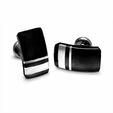 <b>Edward Mirell Wellington Collection:</b><br>Black Titanium and Silver Cufflinks
