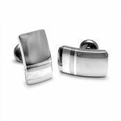 Edward Mirell Wellington Gray Titanium and Silver Cufflinks