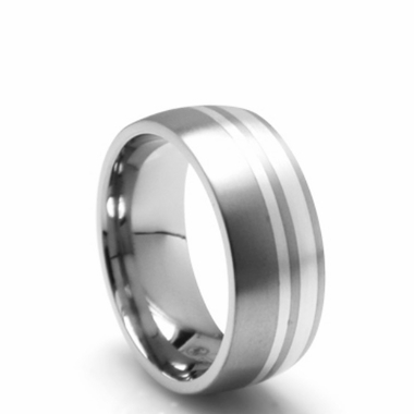 Edward Mirell Wellington Gray Titanium Ring with Silver Inlay